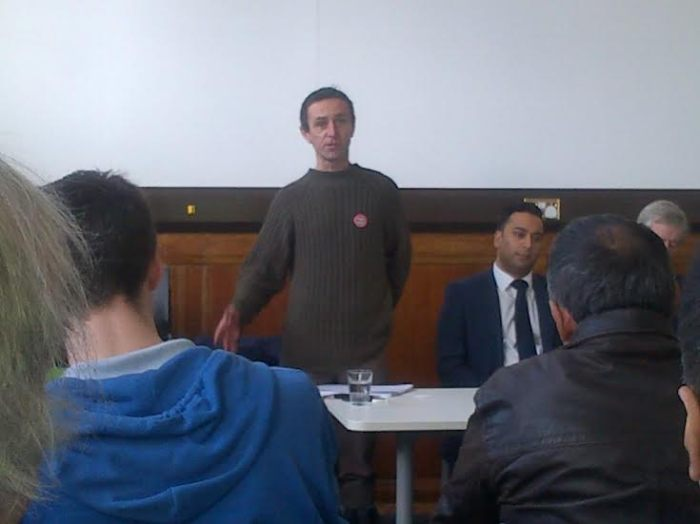 Yardley TUSC candidate Eamonn Flynn speaking at a hustings event